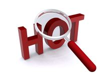 Hot and a magnifying glass Royalty Free Stock Photo