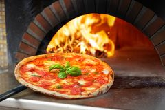 Hot Margherita Pizza Baked Stock Photography