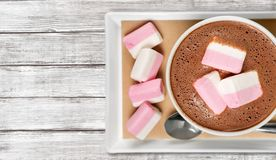 Hot. Marshmallows cups closeup cappucino warm table royalty free stock image