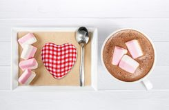 Hot. Marshmallows cups closeup cappucino warm table stock photo
