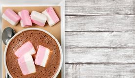 Hot. Marshmallows cups closeup cappucino warm table royalty free stock photography