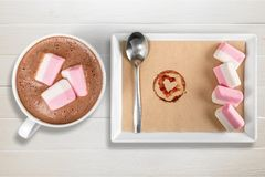 Hot. Marshmallows cups closeup cappucino warm table royalty free stock images