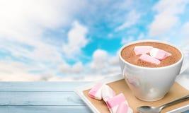 Hot. Marshmallows cups closeup cappucino warm table stock photography