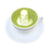 Hot matcha green tea isolated on white background, clipping path Royalty Free Stock Images
