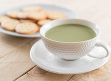 Hot matcha latte Stock Photo