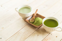 Hot matcha latte Stock Photography