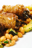 Hot Meat Dish - Beef Roll on Vegetable Royalty Free Stock Photo