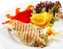 Hot Meat Dishes - Grilled Chicken Steak Royalty Free Stock Photo