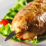 Hot Meat Dishes - Meat in Pastry Stock Photo
