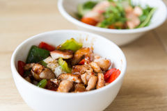 Hot meat salad in white plate Royalty Free Stock Photography