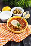 Hot meat and vegetable soup Royalty Free Stock Photos
