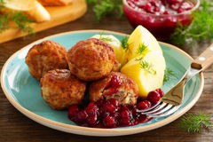 Hot meatballs with boiled potatoes Royalty Free Stock Photography