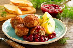Hot meatballs with boiled potatoes Royalty Free Stock Images