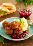 Hot meatballs with boiled potatoes Stock Image
