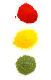 Hot medium and mild spices. Spice traffic light with red, yellow and green spices.  Hot, medium and mild Royalty Free Stock Images