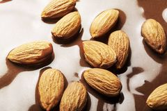 Hot melted chocolate and almond nuts. Sweet food chocolate dipped melted chocolate chocolate almonds nobody photography closeup Stock Photos