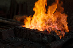 Hot Metal in a Blacksmith Forge. Royalty Free Stock Photos