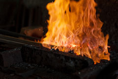 Hot Metal in a Blacksmith Forge. Royalty Free Stock Images