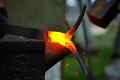 Hot metal forging Stock Photography