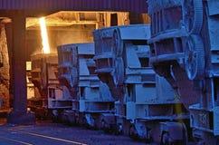 Hot metal ladle car transportation Royalty Free Stock Photography