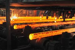 Hot metall tube billets. This hot steel billets came out from continuous casting machine royalty free stock photos
