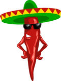 Hot mexican chili with green sombrero royalty free illustration