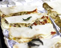 Hot mexican food quesadilla on a tray of oven royalty free stock photo