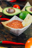 Hot mexican salsa whith the nacho chips surrounded by ingredients - tomatoes, chili peppers, lime. Stock Photos