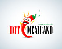 Hot Mexicano Chili Pepper Cartoon Mascot Logo template. Mexican Fast food logotype template. Isolated illustration stock illustration