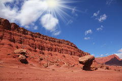 Hot midday sun in the red desert Royalty Free Stock Image