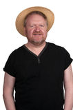 Hot middle aged man in straw hat Royalty Free Stock Photo
