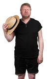 Hot middle aged man in straw hat Royalty Free Stock Images