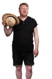 Hot middle aged man in straw hat Royalty Free Stock Photos