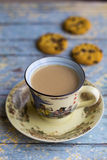 Hot milk coffee with cookies Royalty Free Stock Photos