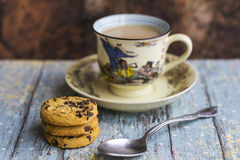 Hot milk coffee with cookies Royalty Free Stock Photo