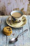 Hot milk coffee with cookies Stock Photography