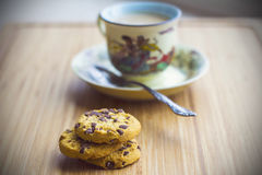 Hot milk coffee with cookies Royalty Free Stock Photography