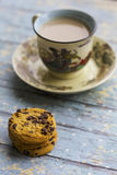 Hot milk coffee with cookies Royalty Free Stock Image