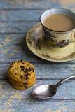 Hot milk coffee with cookies Stock Photos