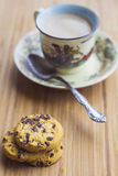 Hot milk coffee with cookies Stock Images