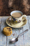 Hot milk coffee with cookies Stock Image