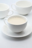 Hot milk. A cup of hot milk stock photo