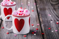 Hot Milk With Pink Marshmallow In Mugs With Hearts For Valentine Day Royalty Free Stock Photo