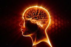Hot mind. Man head with shining brain Royalty Free Stock Photography