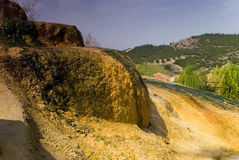 Hot mineral water Karahayit natural travertine pools in Pamukkale. Stock Photos