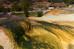 Hot mineral water Karahayit natural travertine pools in Pamukkale. Royalty Free Stock Image