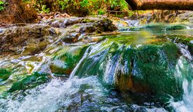 Hot mineral waterfall, Famous place in Krabi province, Khlong Th. Hot mineral waterfall, Famous place in Krabi province, Natural travel background. Khlong Thom Stock Photos