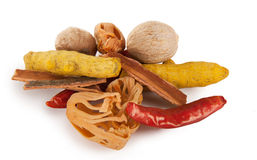Hot mix raw spices Stock Photos