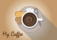 Hot mocha coffee, background. For vector or clipart Stock Photography