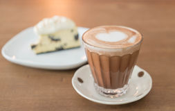 Hot mocha coffee with cake. Hot mocha coffee with cookies and cream cheese cake Stock Photography
